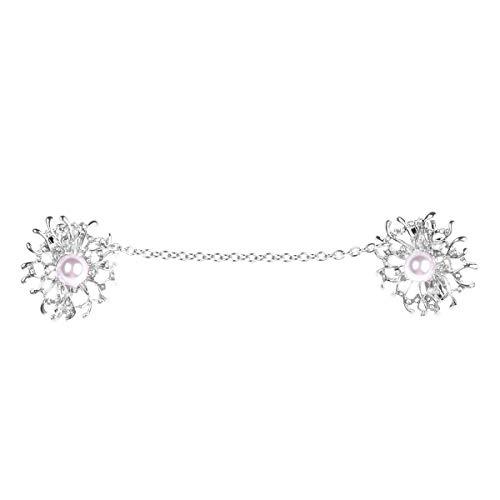 TiaoBug Clips Vintage de Flor con Perla Rosa de Imitación para Cárdigan Jersey Suéteres Chal Broche Docoración Elegante para Mujeres Chica