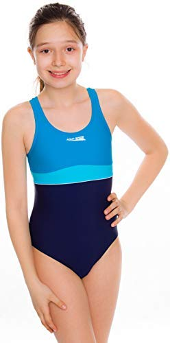 Aqua Speed Emily Badeanzug   Mädchen   Teenager   134-164   UV-Schutz   Elastisch   Blickdicht   Chlorresistent 146 Navy-Turquoise-Light Turquise