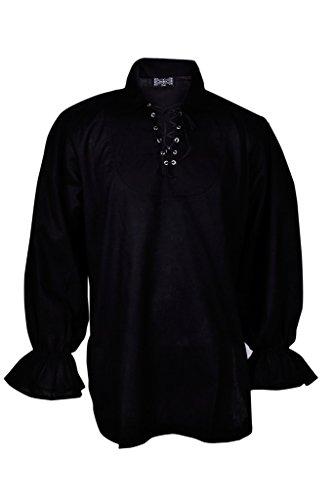 Rinascimento Casuale Estate Pirate Shirt Costume Medioevale Uomini Colore Nero Large Size