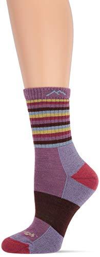 Darn Tough Vermont Gepolsterte Damen-Socken aus Merino-Wolle Medium Plum Stripe (Aus Socken Vermont)
