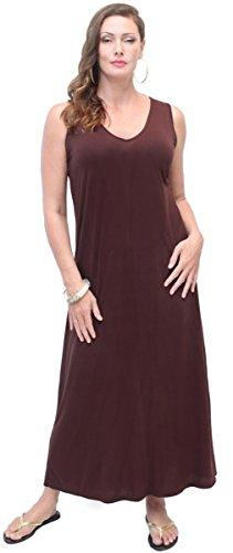LOTUSTRADERS Damen V-Ausschnitt Maxi Kleid (Batik Dark Brown)