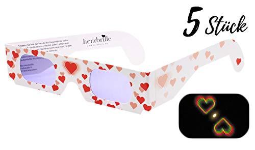 Herzbrille Liebesrausch(5 Stück) -Herzchen sehen in jedem Licht: Ideal für Hochzeit & Partys