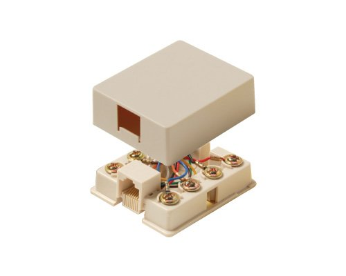 Steren 4-Conductor UL Surface Modular Telephone Jack - White by Steren 4 Conductor Modular Jack