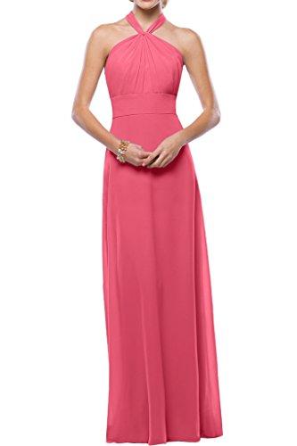 Gorgeous Bride Beliebt Neckholder Empire Chiffon Lang Cocktailkleid Partykleid Festkleid Wassermelone