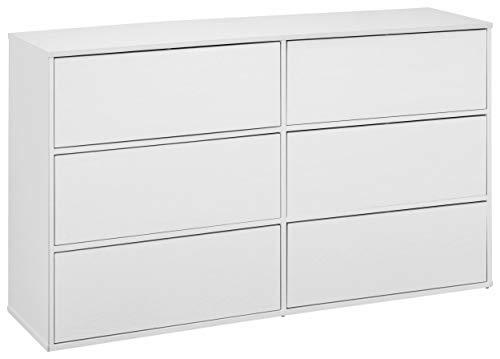 Loft24 LIUS Kommode Schubladenkommode Sideboard Mehrzweckkommode Anrichte MDF (weiß matt, 6 Schubladen)