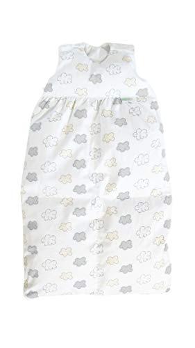 Odenwälder BabyNest Daunen-Schlafsack/Kinderschlafsack/Babyschlafsack waschbar/Winterschlafsack atmungsaktiv/leichter Daunenschlafsack, Größe:80, Design:Wolke silber
