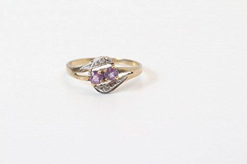 vintage13.de Ring Goldring 2 Lila Steinen evtl. Saphir Oder Turmalin und 2 Kleinen Diamenten