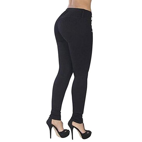 LAEMILIA Leggings Pantalons Femme Collant Jeggings Slim Fit Taille Haute Couleur Unie Vintage Leggings Sexy Crayon Noir