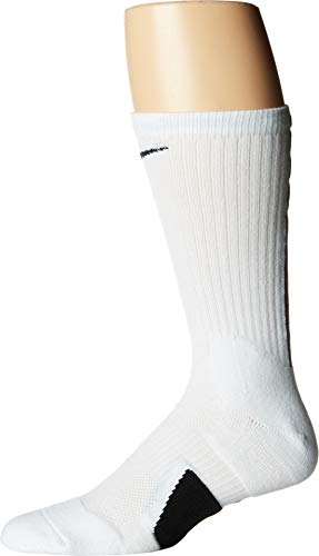 Nike U NK Elite Crew Socks, White/Black, L -