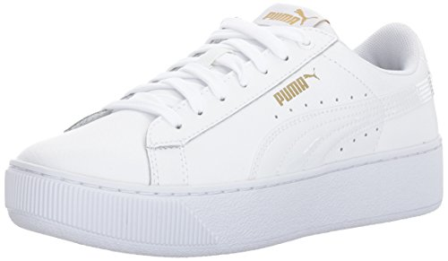 Schuhe Plattform-frauen Puma (PUMA Frauen Vikky Plattform Lthr P, Weiß-Weiß-Weiß, 10 M US)