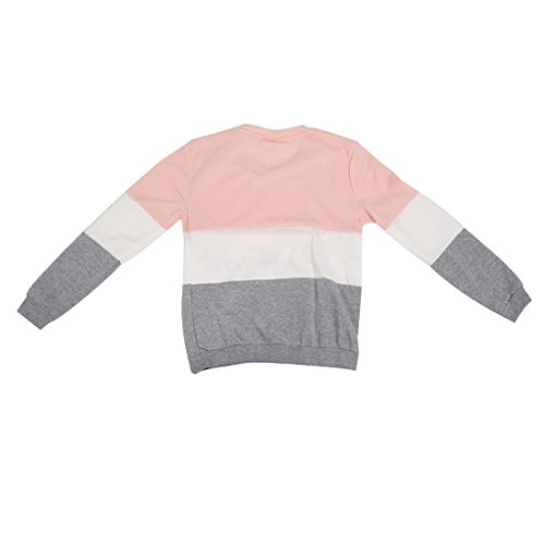SODIAL (R)Lettres imprimes differents Mix pull Lache Casual pull femmes gris + rose gris + rose