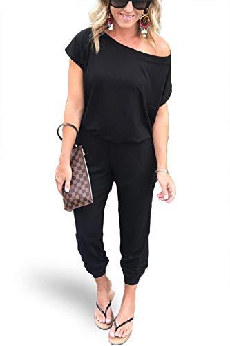 Alelly Damen Strampelanzug, schulterfrei, elastisch, Taillenbalken, Schwarz - schwarz - Klein