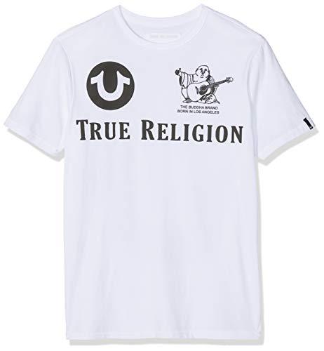 True Religion Herren Crew T-Shirt, Weiß (White 1700), Large (Herstellergröße: L)