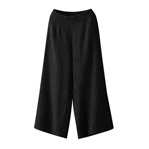 Low 5 Flare Jean (FRAUIT Damen Einfarbige Elegant Hose mit weitem Bein Baumwolle Leinen Lässige Hosen Weite Elastische Taille Palazzo Culottes Hosen Frauen Jogging Yoga Freizeit Strandhose Sommer Kleidung)