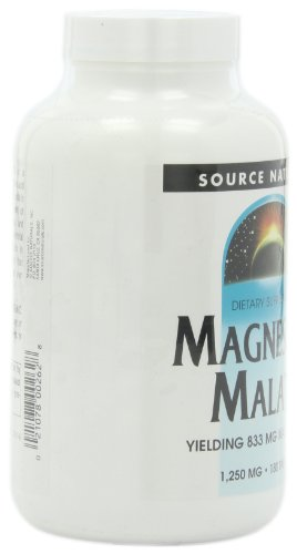Source Naturals Magnesium Malate 1250mg, Supports Muscles and Energy Production,180 Tablets