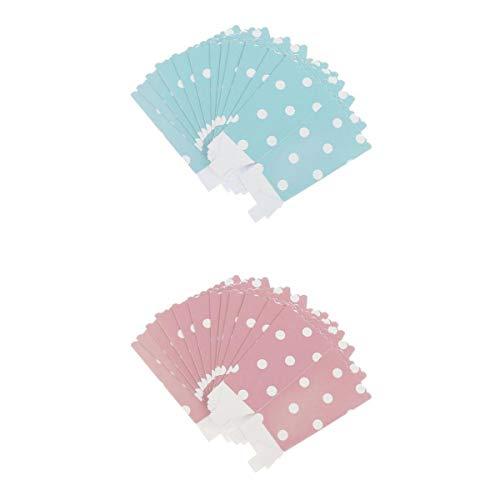 Fenteer 24x Pappe Popcorn Tasche Box Snacktüten Süßigkeiten Schachtel Nachtisch Tüten, Rosa und Blau