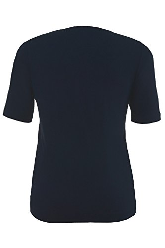 GINA LAURA Damen   Shirt   Super-Stretch   Größe S-XXXL   Rundhalsausschnitt, Satinpaspel   Jersey   100928 Marine
