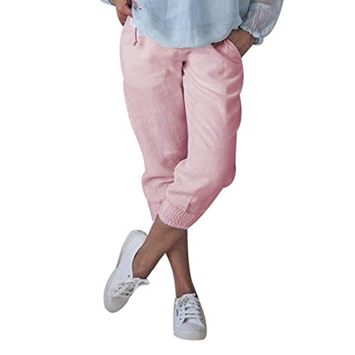 Shujin Damen Baumwolle Leinen Capri Hose Sommer Leicht 3/4 Länge Kurze Baggyhose Chino Hose Lässig Einfarbig Strandshorts Stoffhose Freizeithose -