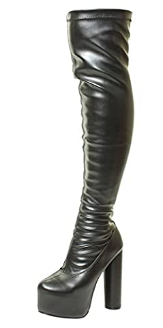 Sexy Womens Black Sexy Stretchy Over The Knee Wide Calf Stretch Suede Platform Thigh High Heel Boots Sizes 3 4 5 6 7 8 UK