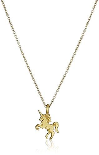 Elevavie Halskette mit Einhorn Anhänger Glücksbringer Damen Schmuck und Good Luck Spruchkarte, Geschenkkarte