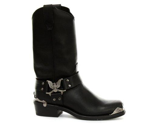 Grinder Mens Eagle Hi Leather Boots Noir
