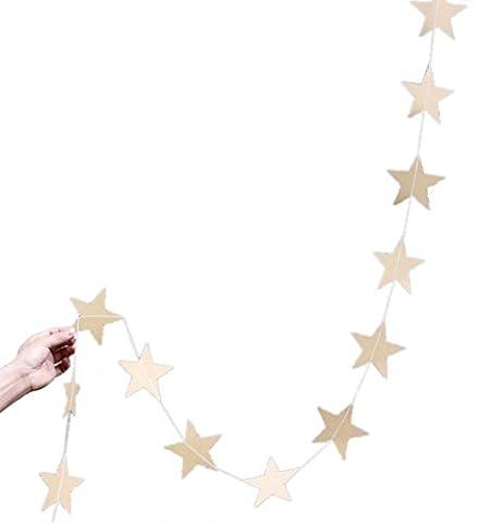 Y-BOA 1 Pièce Guirlande Étoiles Scintillant Longue Décoration Cérémonie Anniversaire Fête Chambre 4M Doré