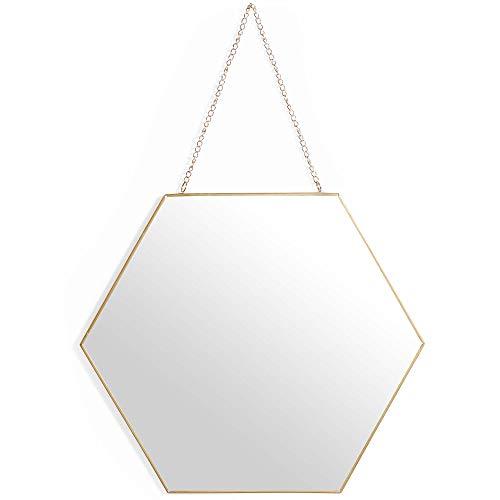 Beautify Sechseckiger Spiegel - Antiker Messing Look - Mit Kette zum Aufhängen - Vintage Style