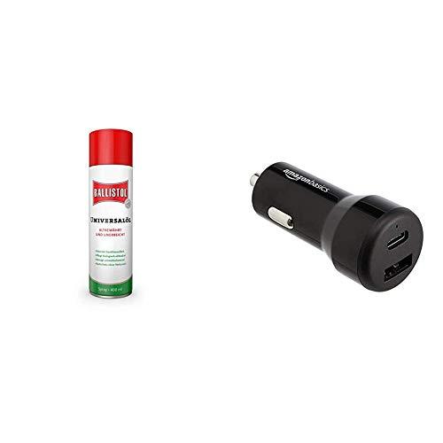 BALLISTOL Universalöl Spray, 400 ml & AmazonBasics - Kfz-Ladegerät, USB-C (15 W) und USB-A (12 W)