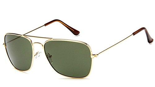 Chic-Net Sonnenbrille Trapez Pilotenbrille 400UV Metallgestell getönt verspiegelt korean hoher Steg unisex Damen Herren Brillen koreanisch Retro Vintage 70er jahre Sonnenbrillen Trend Designer 018 CE