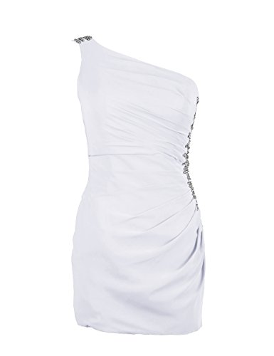Dressystar Robe de femme,fourreau, robe de bal/cocktail moulante courte,en Mousseline Blanc