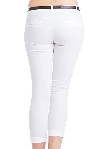 Abbino 2956 Damen Hosen - Made in Italy - 3 Farben - Frühjahr Sommer Herbst Damenhosen Baumwolle Unifarben Figurbetont Locker Sitzend Feminin Ladies Sportlich Lässig Festlich Sale Sexy Weiß