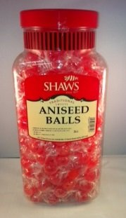 WJ Shaws ANISEED BALLS 2KG JAR Old Sweet Shop Style