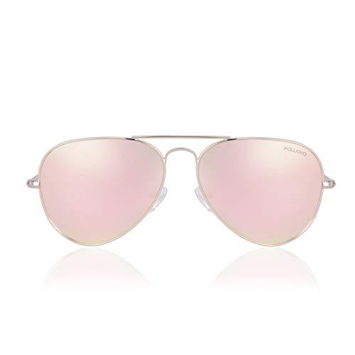 fawova Oversized Pilotenbrille Damen Verspiegelt, Fliegerbrille Damem Rosagold Verspiegelt, 2019 Piloten Sonnenbrille Polarisiert, UV400, Cat.3 58mm(Gold, Roségold)