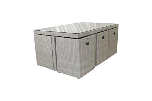 DCB GARDEN PVC-10-PORTO Encastrable 10p en résine tressée Plateau Verre – 1 Table + 6 fauteuils + 4 poufs Gris, 170x105x72 cm