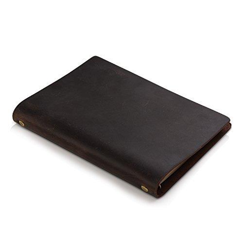 7Felicity klassisches, handgefertigtes Business Notizbuch mit Lederhülle, 23 x 16,6 cm, nachfüllbar mit 6-fach Ringbuch. Tagebuch, Journal, Schreibblock oder Notizbuch für den Alltag und auf Reisen. (114A) (schwarzbraun)