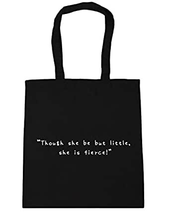 HippoWarehouse Though She Be But Little She is Fierce Tote Shopping Gym Beach Bag 42cm x38cm, 10 litres
