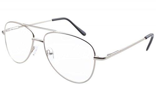 Eyekepper Lunettes de Vue - Style Aviateur Pilote - Monture Metalique - Excellente qualite (Verre gris) Argente