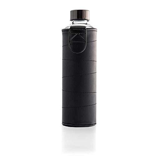 EQUA Wasser Flasche mit Kunstlederhülle 750 ml Borosilikat Glas 0,75 l, Graphit 0,75 L Glas