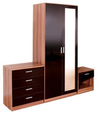 3 Piece Mirrored Bedroom Set Black High Gloss Walnut Frame Double Wardrobe, Bedside Cabinet, Chest of Drawers