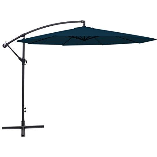Festnight Freiarm-Sonnenschirm Gartenschirm Strandschirm 3,5 m Sonnenschutz Schirm UV-Schutz Blau