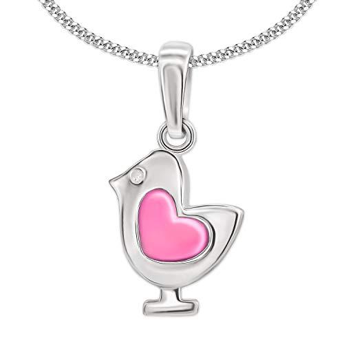Clever gioielli set argento mini bambini ciondolo piccolo pulcino 10 x 8 mm uccello con cuore rosa laccato lucido & catena 38 cm in argento 925 pasqua regalo