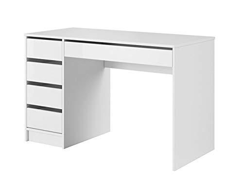 Mirjan24 Schreibtisch Ada, 5 Schubladen Schülerschreibtisch Computertisch Kinderschreibtisch Arbeitstisch PC-Tisch Jugendzimmer Kinderzimmer (Weiß/Weiß Hochglanz)