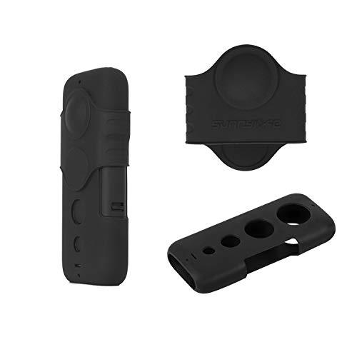 Tineer Housse en Silicone et Fisheye couverture Shell Protector Case Cover Set Pour Insta360 One X Action Camera Accessoires (Noir)