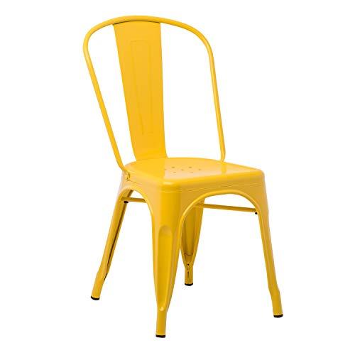 Silla amarilla de comedor estilo industrial de metal apilable
