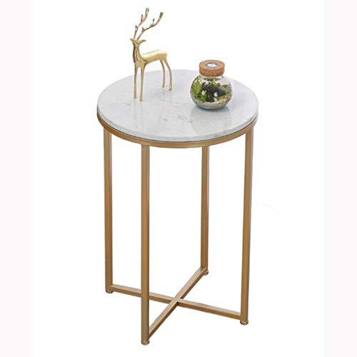 Schmiedeeisen Beistelltisch (KY Wohnzimmer Kaffeetisch Beistelltisch Marmor Couchtisch, Schmiedeeisen Balkon Wohnzimmer Schlafzimmer 40 * 40 * 61CM)