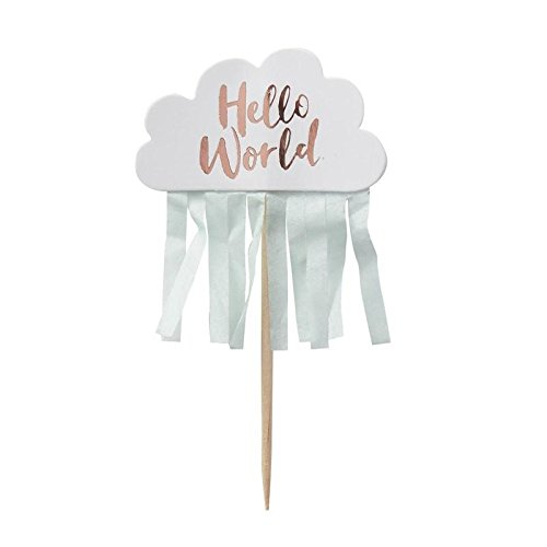 Hello World - Rose Gold & Cloud Baby Shower Cupcake Toppers