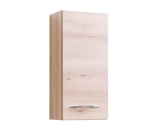lifestyle4living Bad Hängeschrank in Buche Dekor | Badschrank mit Metallgriffen | Badezimmerschrank mit 1 Tür und 2 Einlegeböden