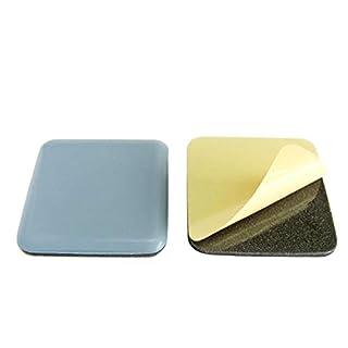 4 x Teflon-Möbelgleiter zum Kleben, eckig 50x50mm, 5mm stark, PTFE mit 2mm Gummipuffer, graublau, extra strapazierfähig, Hersteller HKB, Artikel-Nr. 20374