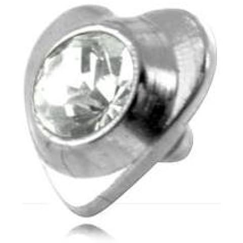 Cuore Acciaio Con Strass Per micro-dermal 1.6mm–a cerchio/Asta 1.6mm, elemento 3.5mm - 3,5 Mm Cuore