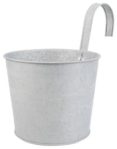 Pot jardinière en zinc patiné pour balcon - 24,50 x 16,20 x 25,20 cm